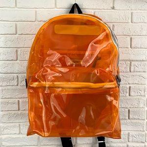 Tommy Jeans logo clear orange backpack tape orange